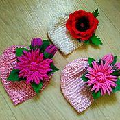 Работы для детей, ручной работы. Ярмарка Мастеров - ручная работа Шапочки-резинки  с цветами для малышек до года!. Handmade.