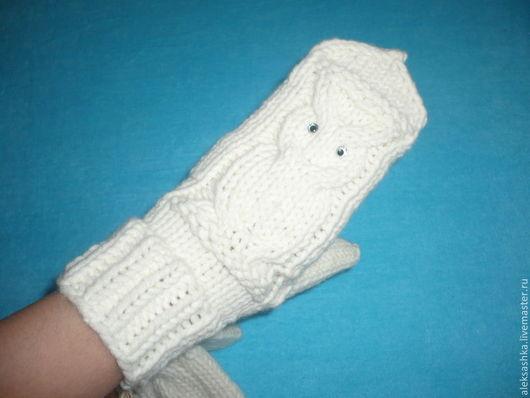 """Варежки, митенки, перчатки ручной работы. Ярмарка Мастеров - ручная работа. Купить Варежки """"Совы"""". Handmade. Белый, варежки из шерсти"""