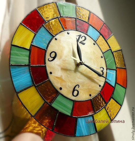 """Часы для дома ручной работы. Ярмарка Мастеров - ручная работа. Купить Витражные часы и рамки для фото""""Калейдоскоп"""". Handmade. Часы, марблс"""