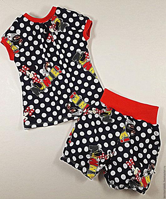 """Одежда для девочек, ручной работы. Ярмарка Мастеров - ручная работа. Купить Комплект """"Минни"""". Handmade. Чёрно-белый, комплект для малышки"""
