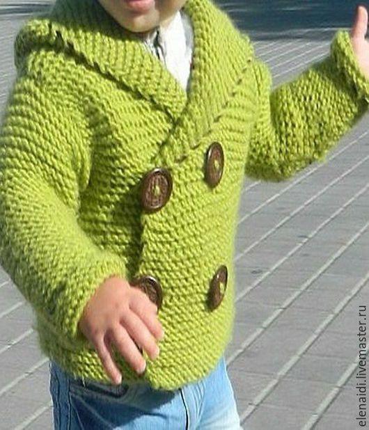 Одежда для мальчиков, ручной работы. Ярмарка Мастеров - ручная работа. Купить Кардиган Модный я из мериноса. Handmade. Голубой, кардиган спицами