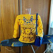 Одежда ручной работы. Ярмарка Мастеров - ручная работа Летний ажурный пуловер с цветами. Handmade.