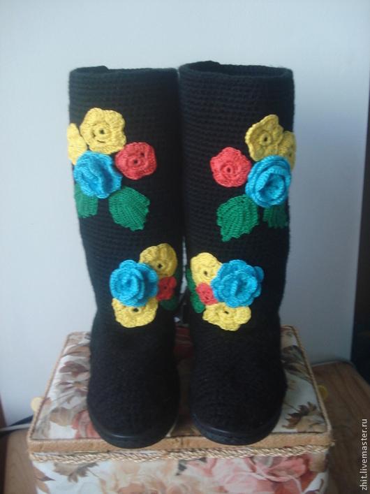"""Обувь ручной работы. Ярмарка Мастеров - ручная работа. Купить Сапожки """"Весна"""". Handmade. Черный, сапоги ручной работы, акрил"""