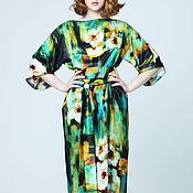 Одежда ручной работы. Ярмарка Мастеров - ручная работа Платье зеленое шёлковое из атласа летнее с цветами. Handmade.