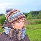 Аксессуары handmade. Livemaster - original item Hat knitted double Snood set