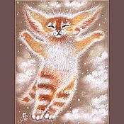 Картины и панно ручной работы. Ярмарка Мастеров - ручная работа Картина пастелью - Оранжевое счастье. Зима. Handmade.