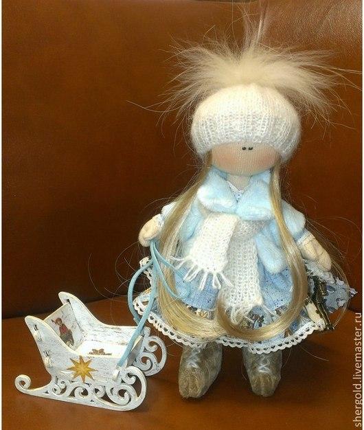 Коллекционные куклы ручной работы. Ярмарка Мастеров - ручная работа. Купить Нинель-интерьерная текстильная кукла. Handmade. Голубой, подарок