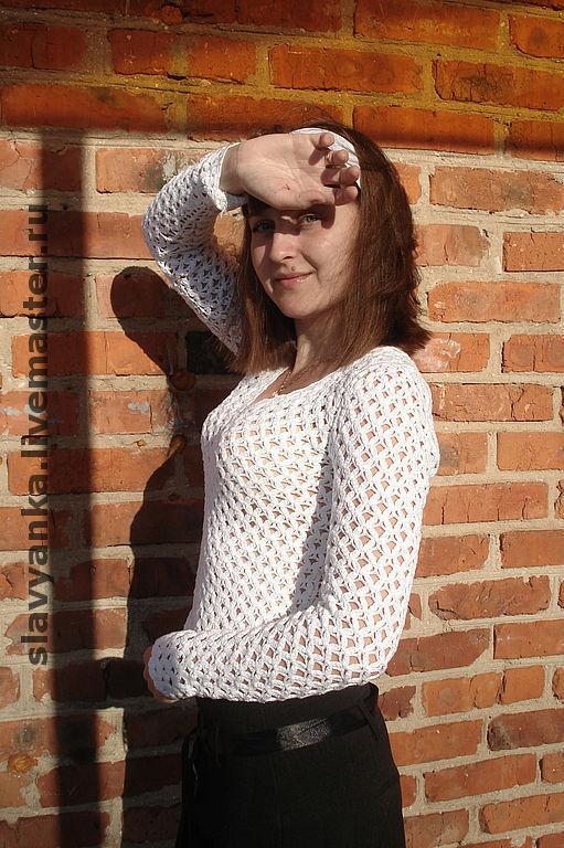 """Блузки ручной работы. Ярмарка Мастеров - ручная работа. Купить Блуза ажурная белая """"Строгий стиль"""". Handmade. Вязаная блузка"""