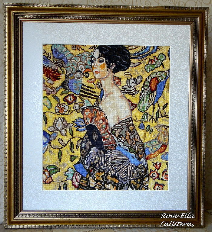 """Embroidered picture G.Klimt """"Lady with fan"""", Pictures, Astrakhan,  Фото №1"""