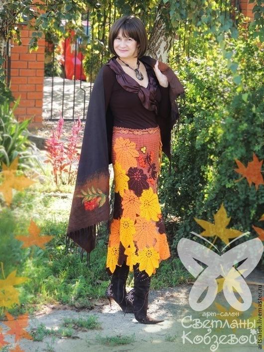 """Юбки ручной работы. Ярмарка Мастеров - ручная работа. Купить Юбка """"Осенний листопад"""". Handmade. Юбка вязаная, сцепное кружево"""