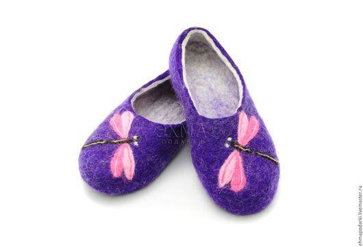 Обувь ручной работы. Ярмарка Мастеров - ручная работа. Купить Тапочки Стрекоза. Handmade. Войлочные тапочки, дизайнерские тапочки