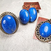 Украшения handmade. Livemaster - original item Set with blue jade(earrings,pendant,ring).Classic.. Handmade.