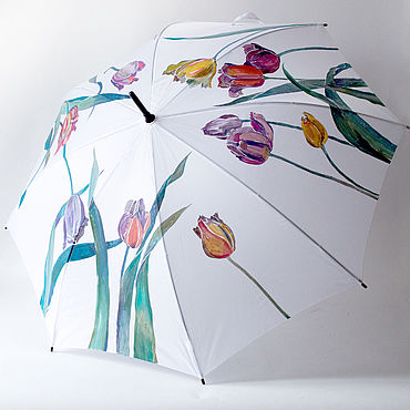 Аксессуары ручной работы. Ярмарка Мастеров - ручная работа Расписной зонт Весенние Тюльпаны, зонт-трость с цветами. Handmade.