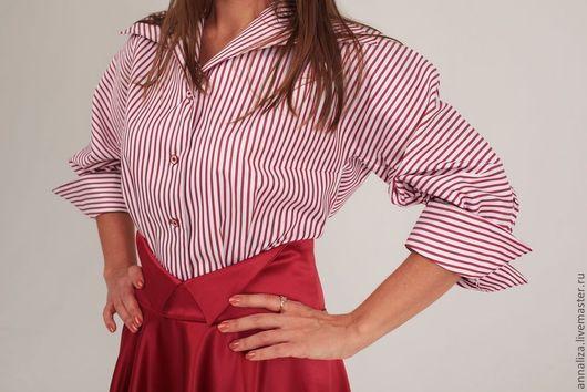 """Блузки ручной работы. Ярмарка Мастеров - ручная работа. Купить Блузка стилизованная """"Полоска белая, полоска красная"""". Handmade."""