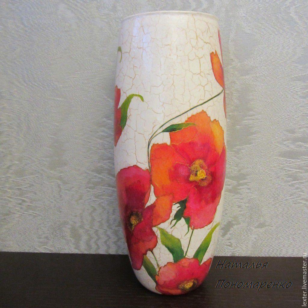 Вазы ручной работы. Стеклянная ваза Маковое поле
