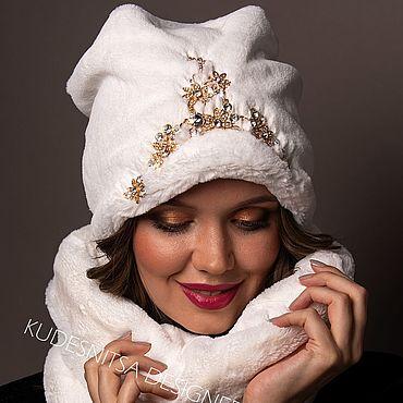 """Аксессуары ручной работы. Ярмарка Мастеров - ручная работа Шапка расшитая эко-кролик""""White"""". Handmade."""