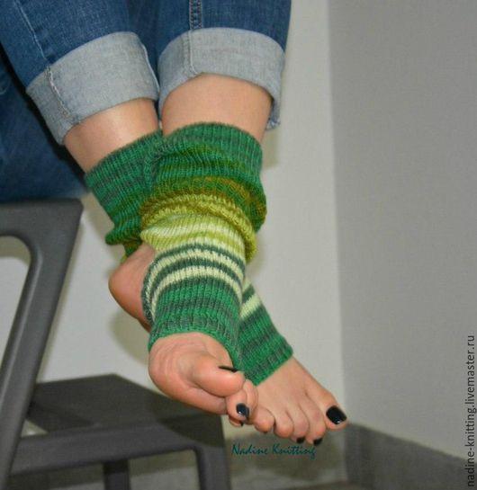 Носки, Чулки ручной работы. Ярмарка Мастеров - ручная работа. Купить Носочки для йоги. Handmade. Комбинированный, носки вязаные