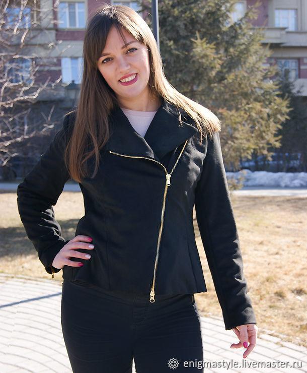 Black suede jacket with asymmetrical zipper, Biker style jacket, Outerwear Jackets, Novosibirsk,  Фото №1