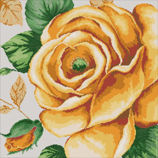 Схема вышивки бисером с полной зашивкой `Нарисованная роза`