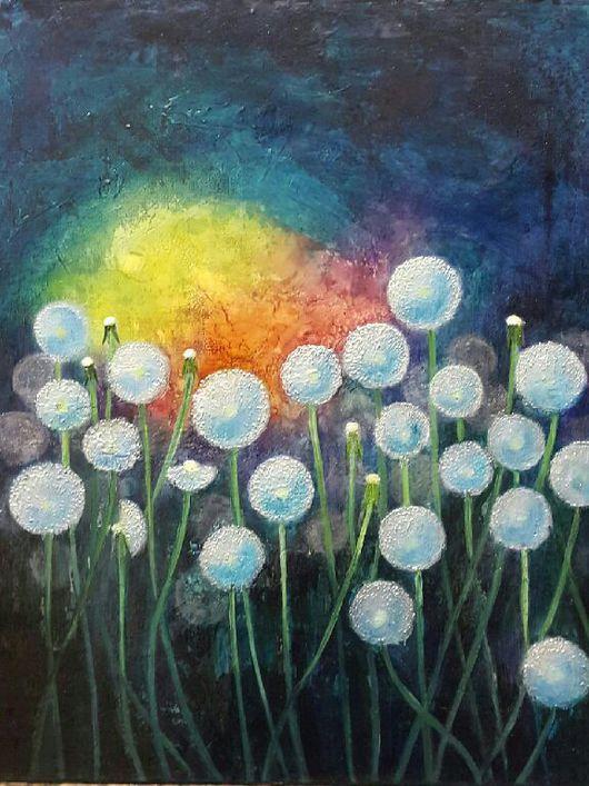 Картины цветов ручной работы. Ярмарка Мастеров - ручная работа. Купить Одуванчики. Handmade. Тёмно-бирюзовый, одуванчики, цветы