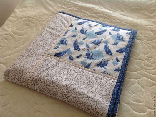 Пледы и одеяла ручной работы. Ярмарка Мастеров - ручная работа. Купить Покрывало для детской в морском стиле. Handmade. Комбинированный, якорь