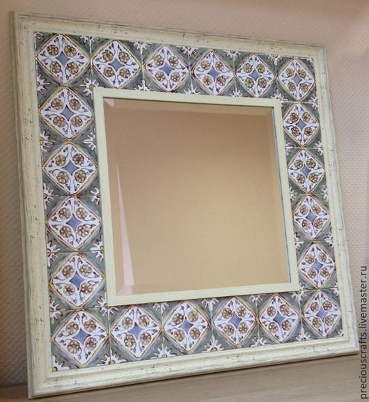 Зеркала ручной работы. Ярмарка Мастеров - ручная работа. Купить Зеркало настенное в раме из керамической плитки. Handmade. Зеркало, кантри
