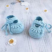 Работы для детей, handmade. Livemaster - original item Blue knit booties sandals for baby girl, 2-4 months. Handmade.