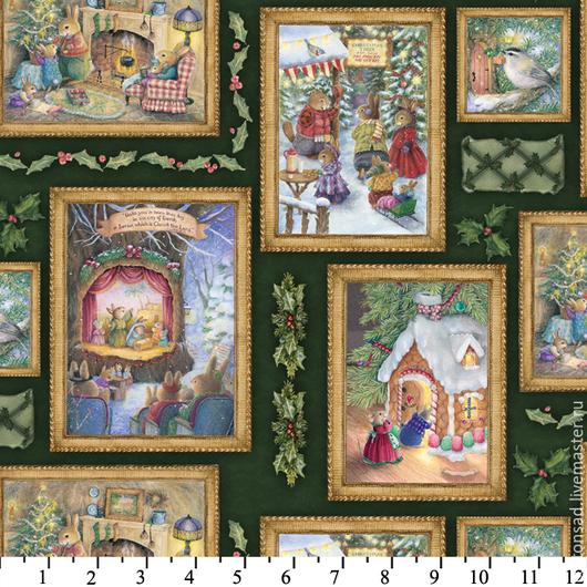 """Шитье ручной работы. Ярмарка Мастеров - ручная работа. Купить Ткань для шитья. (5 видов) """"Зайчики, Рождество"""". Американский хлопок.. Handmade."""