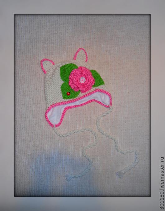 Шапки и шарфы ручной работы. Ярмарка Мастеров - ручная работа. Купить Шапка для девочки с цветком. Handmade. Шапка, шапка с ушками