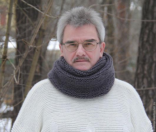 """Шарфы и шарфики ручной работы. Ярмарка Мастеров - ручная работа. Купить Мужской шарф-снуд """"Маренго""""  (полушерсть). Handmade."""