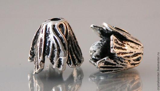 """Для украшений ручной работы. Ярмарка Мастеров - ручная работа. Купить шапочка для бусин  """" Бутон"""" цвет серебро. Handmade."""