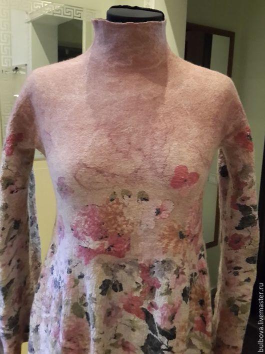 Платья ручной работы. Ярмарка Мастеров - ручная работа. Купить Платье шерстяное Цветочная поляна. Handmade. Бежевый, шерсть меринос