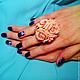 """Кольца ручной работы. Ярмарка Мастеров - ручная работа. Купить кольцо """"Персиковые розы"""". Handmade. Оранжевый, подарок на день рождения"""