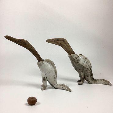 Для дома и интерьера ручной работы. Ярмарка Мастеров - ручная работа Два друга. Скульптура из керамики и дерева дрифтвуд. Handmade.
