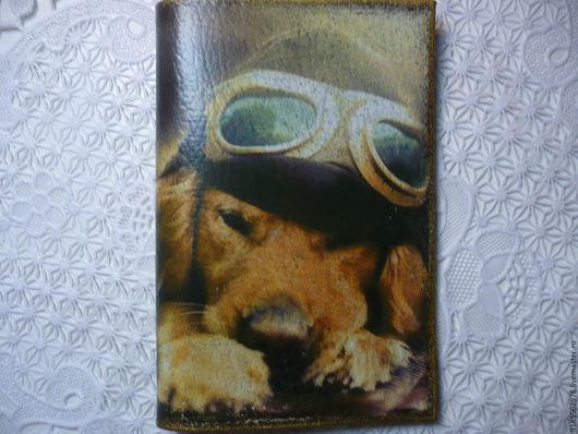 Обложки ручной работы. Ярмарка Мастеров - ручная работа. Купить Обложка на паспорт Друг пилота Собака. Handmade. Коричневый, пилот