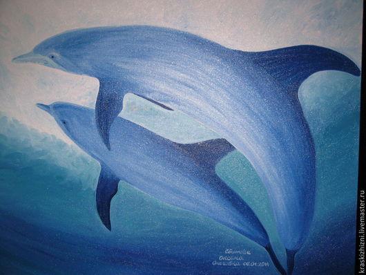 «Влюбленные дельфины», масло, холст, 70х60. Пара дельфинов позволит окунуться в бездну чувств, насладиться ощущениями, и подняться вверх…
