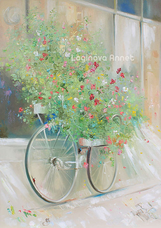 Картины цветов ручной работы. Ярмарка Мастеров - ручная работа. Купить Flower bicycle. Handmade. Картина на холсте, необычный подарок