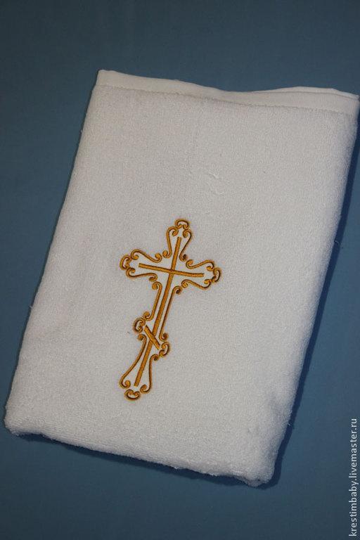 Крестильные принадлежности ручной работы. Ярмарка Мастеров - ручная работа. Купить Крестильное махровое полотенце. Handmade. Белый, крестильное полотенце