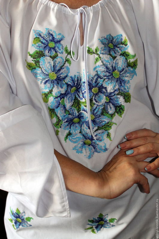 Блузки ручной работы. Ярмарка Мастеров - ручная работа. Купить Вышитая блуза. Handmade. Белый, Вышивка крестом