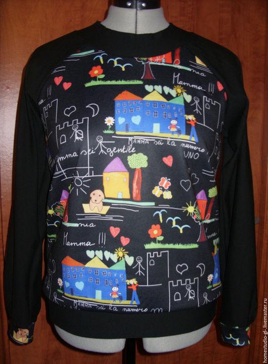 """Кофты и свитера ручной работы. Ярмарка Мастеров - ручная работа. Купить Свитшот  """"Детские рисунки"""". Handmade. Черный, трикотаж"""