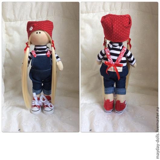 Куклы тыквоголовки ручной работы. Ярмарка Мастеров - ручная работа. Купить Интерьерная текстильная кукла большеножка Морячка. Handmade. Синий
