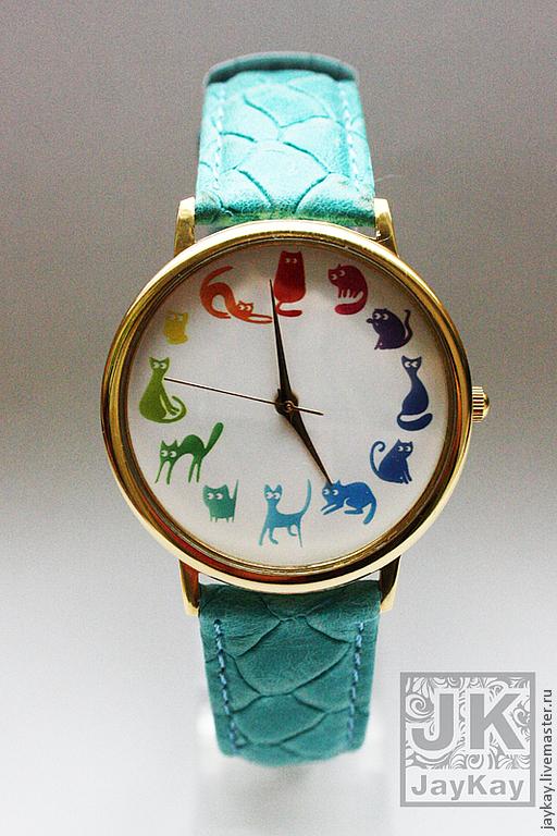 """Часы ручной работы. Ярмарка Мастеров - ручная работа. Купить Часы наручные JK """"12 котиков """"радуга"""". Handmade. Радуга"""