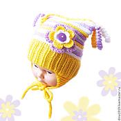 Работы для детей, handmade. Livemaster - original item beanie for girl, knitted hat, yellow, purple. Handmade.