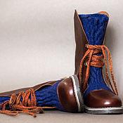 Обувь ручной работы. Ярмарка Мастеров - ручная работа Ботинки ручной работы синий коричневый. Handmade.