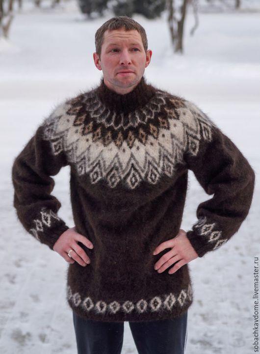 Кофты и свитера ручной работы. Ярмарка Мастеров - ручная работа. Купить свитер из собачьей шерсти Северное сияние. Handmade. Черный