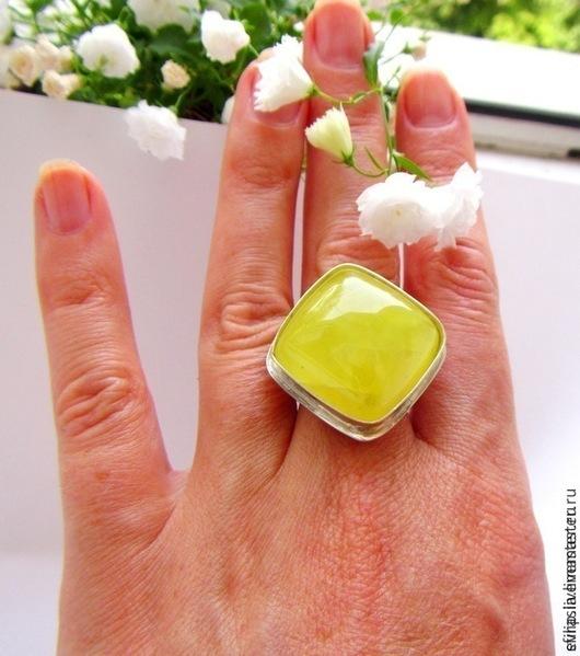 """Кольца ручной работы. Ярмарка Мастеров - ручная работа. Купить Кольцо """" Limoncello"""" (Пренит,серебро). Handmade. Лимонный"""