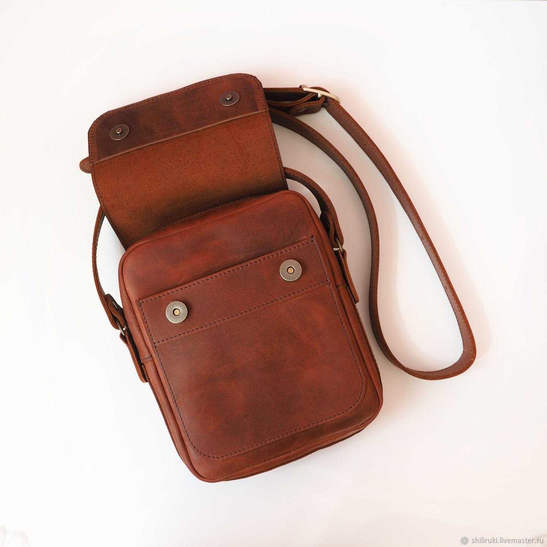 cbafd212f677 Мужские сумки ручной работы. Заказать Сумка мужская кожаная. Сумка Планшет  OWL Коньяк с клапаном ...