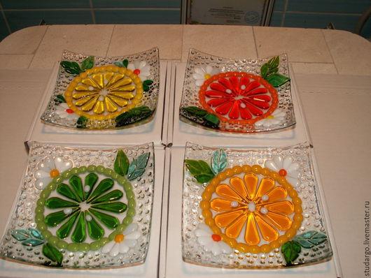 """Тарелки ручной работы. Ярмарка Мастеров - ручная работа. Купить Тарелочки """"Цитрусовый фрэш""""(фьюзинг). Handmade. Разноцветный, подарок подруге"""