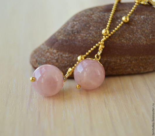 Серьги с розовым кварцем.Длинные серьги.Серьги -цепочки.Розовый кварц мадагаскарский.Розовый кварц натуральный.Позолоченные серьги.