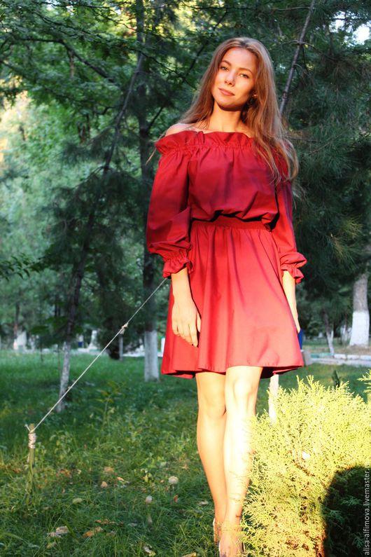 """Платья ручной работы. Ярмарка Мастеров - ручная работа. Купить Платье """"Бордо"""". Handmade. Бордовый, платье хлопок, бордовое платье"""